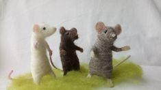Poseable Mice Needle Felt Kit - makes 3 mice in grey, brown and white Needle Felting Kits, Needle Felted Animals, Felt Animals, Wool Felt, Dinosaur Stuffed Animal, Poses, Mice, How To Make, Grey