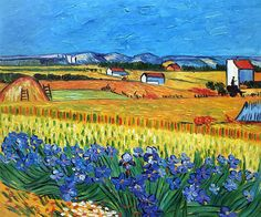 Van Gogh - Harvest with Irises Collage (artist interpretation).  Hand painted oil painting reproductions available at overstockArt.com #art