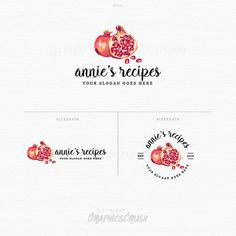 Food Logo - Pomegranate Logo - Logo Design - Food Blog Logo