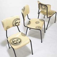 Dining chairs, ca 1970.  Piero Fornasetti.