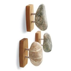 Give your bath an instant spa-quality makeover with natural Stone Hooks, artisan-made in America from sustainably gathered stones and cherry hardwood. Beach Bathrooms, Hall Bathroom, Basement Bathroom, Master Bathroom, Bathroom Ideas, Towel Hooks, Hanging Towels, Grandin Road, Beach Stones