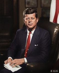 President John F. Kennedy in Oval Office White House 1961 colorized by me x