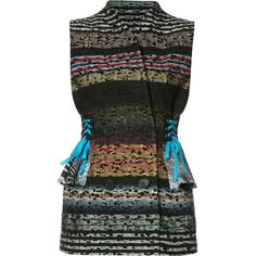 Tome 'Striped Tweed Laced Tailored' vest (43.190 RUB) ❤ liked on Polyvore featuring outerwear, vests, black, vest waistcoat, lace up vest, tweed waistcoat, tome and colorful vest