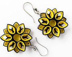 Paper earrings –Bumble bee quilling sunflower earrings/ black and yellow honey bee/ paper jewelry/ statement earring/ first anniversary gift