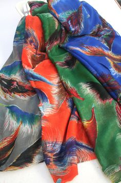 Multicolored Women  Scarf FREE SHIPPING Feathers Print Colorful Design Scarf  Orange Green Blue - By PIYOYO. $25.00, via Etsy.
