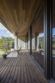 simple front porch option- small overhang in front of window - each side of great room- need recess lighting Design Hotel, House Design, Design Exterior, Modern Bungalow, Balcony Design, Decoration Design, Beautiful Living Rooms, Japanese House, House Rooms