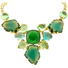 "KJ Lane, green cluster in gold, 16""                Make a beautiful statement in green with this Kenneth Jay Lane bib necklace. Green-hued stones with gold settings and chain. Length 16"".                   Color: Multi, Green, GoldNecklace Length: 16 inchType of Metal: Metal, MiscellaneousType: Statement Necklaces"