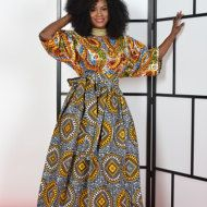 African print Kaftan Maxi Full A-line silluete stand up collar 2 side pockets 100% cotton Can be dressed up or down. Great look  model Is 5.7 tall  ************Ready to ship********** Please also select the closest size to your measurement .   SIZE WAIST BUST HIP  S. 28 35 38  M. 30 37. 40  L. 33. 40 43   XL. 35 42. 45   XXL 37 45 48   Dry clean only by Rahyma
