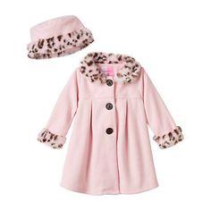Sophie Rose Leopard Faux-Fur Fleece Jacket - Baby Girl