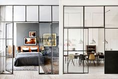 Glass wall and door Kitchen Family Rooms, Trees To Plant, Interior Inspiration, Townhouse, Home And Family, New Homes, Lounge, Doors, Living Room