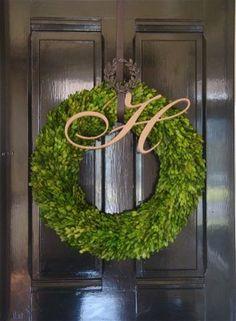 Fab monogram letter over hedge wreath