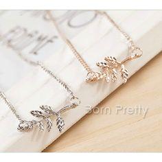 $0.99 1Pc Delicate Little Leave Design Chain Necklace Chain Sweater Necklace - BornPrettyStore.com