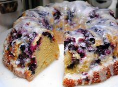 Blueberry Muffin Bundt cake:Grade: A- May 2013 Review: This is delicious. Not a sweet cake, more a breakfast item for a group rather than a dessert.This cake was surprisingly heavy (as in weight, not as in dense)…maybe b/c it has half a lb of butter   heavy cream in it, You could easily cut more but smaller pieces (maybe 18) without shortchanging the serving. Substitute any fruit or a cinnamon swirl, its a whole cake of the best muffins EVER