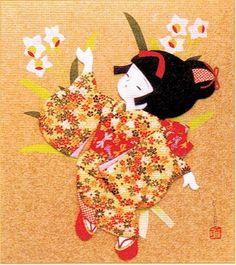 Japanese Kurumi-e Fabric (Warabe-Japanese Girls Series) - Daffodil - Best Japan