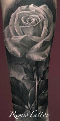 white rose tattoo by Remis - Dublin love the white rose with dark background for my rose boys