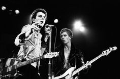 Joe Strummer and Paul Simonon of the Clash on stage at Friars, Aylesbury, UK, 28th June 1978