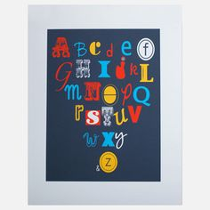 Alphabet Print 11x14, $25 from Kim Sly of Albie Designs, now featured on Fab.