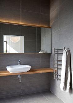 Davy House by Creative Arch - mirror cabinetry Grey Bathroom Tiles, Bathroom Basin, Bathroom Spa, Bathroom Ideas, Spa Interior, Bathroom Interior Design, Timber Shelves, Decor Pad, Saunas