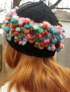 Fluffy Coils Art Yarn Hat by TreasureGoddess