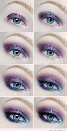 Purple and blue eye makeup tutorial