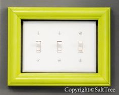 Sometimes it's the simplest things...just an old frame or one from the dollar store painted a pop/accent color makes a lightswitch a small focal point.