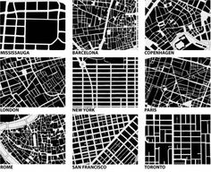 grid, interesting differences. The more modern, the less fractal. Rome spirals all over the shop