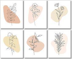 Line Art - Minimalist Decor - Floral Abstract Prints (Set of - - Unframed: Handmade Abstract Line Art, Floral Wall Art, Diy Canvas Art, Minimalist Art, Minimalist Floral Tattoo, Diy Art, Art Prints, Framed Prints, Crafts