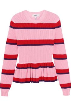 MSGM Striped Cotton Peplum Sweater. #msgm #cloth #knitwear