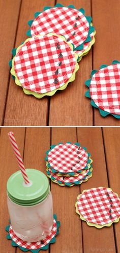 Easy DIY Gingham Summer Picnic Coasters  Do you remember your last picnic? We bet it's a beautiful memory, right? If you want to make your next picnic even better, put this awesome pattern by Flamingo Toes to good use.  #sewingpattern #sewingprojects #sewingcrafts #sewingtutorials #sewingcoasters #summersewing Sewing Tutorials, Sewing Crafts, Sewing Projects, Sewing Patterns, Diy Crafts, Summer Picnic, Gingham, Flamingo, Free Pattern