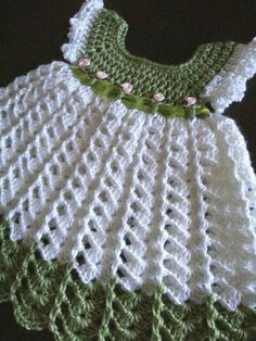 """Örme elbi """"The actual color is lighter than the pic. Made in Caron Simply Soft yarn White and Pistachio. Size 0 to 3 months. Made by Linda Smith"""", """"ROBE Crochet Baby Dress Pattern, Baby Girl Crochet, Crochet Baby Clothes, Crochet For Kids, Free Crochet, Crochet Dresses, Crochet Chain, Pattern Skirt, Double Crochet"""