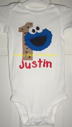 Cookie Monster with Chocolate Chips Birthday Shirt or Onesie with any birthday # and personalized.  Sizes 9 months through 5T