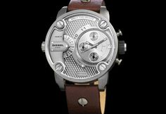 The big daddy of watches! A round  Diesel chronograph watch with detailing in face on a brown leather strap.