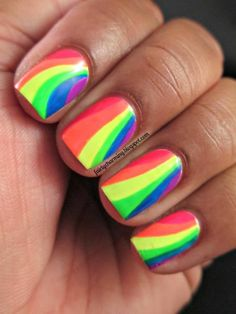 Fairly Charming Water Marble Rainbow Nails