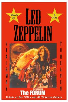 Robert Plant, Jimmy Page Led Zeppelin at The Forum Los Angeles Poster 1975 Led Zeppelin Tour, Led Zeppelin Poster, Led Zeppelin Concert, Tour Posters, Band Posters, Music Posters, John Bonham, Cover Art, Vintage Concert Posters