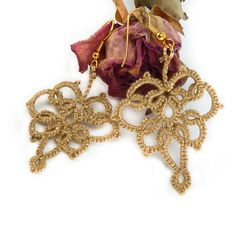 Gold tatted lace earrings