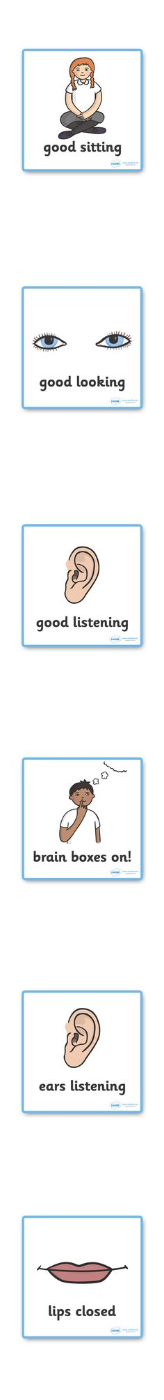 Twinkl Resources >> Good Listening Cards  >> Thousands of printable primary teaching resources for EYFS, KS1, KS2 and beyond! good listening, listen, behaviour management, SEN, good sitting, good listening, good looking, lips closed, brain box,