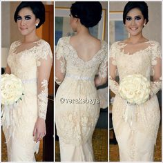 Lace Beaded Evening Dresses Open Back Long Sleeve Prom Gown Formal Woman Dresses Kebaya Peplum, Vera Kebaya, Kebaya Lace, Batik Kebaya, Kebaya Brokat, Kebaya Wedding, Model Kebaya, Modest Wedding Gowns, Formal Dresses For Women