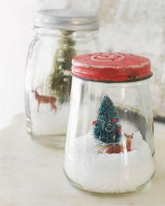 Jam Jar Snowglobes: You'll need...  Jam jar or canning jar (vintage ones look best), coarse sea salt, mini bottle brush tree, small plastic animals. (Fake craft snow works better than salt.)