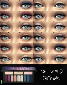 "bernies-simblr: ""Kat Von D Chrysalis Eyeshadow Palette for TS4! Standalone eyeshadow set with swatches. download here """