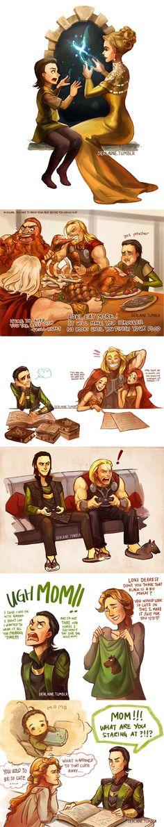 Loki and Thor's childhood. | Artist: Derlaine
