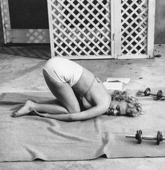 Currently ~ Marilyn Monroe working out Bel Air Hotel 1953 by André de Dienes