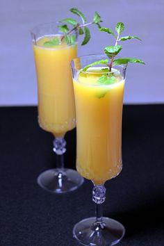 Mockmosa drink recipe with orange juice, dry sparkling white grape juice and mint.