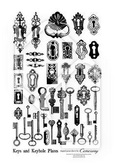 Keys and Keyhole Plates Black White Digital Collage Print Sheet no168. $2.95, via Etsy.