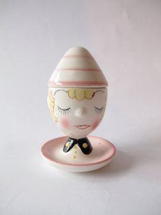 ceramic egg cup or lidded container boys head