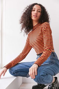 8ec7095b85 Silence + Noise Striped Cropped Turtleneck Sweater Striped Turtleneck