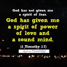God has given me a spirit of power, of love and a sound mind 2 Timothy Bible Verses For Women, Encouraging Bible Verses, Favorite Bible Verses, Bible Verses Quotes, Scriptures, Favorite Quotes, Stir Up The Gift, Bible Verses For Depression, Christian Affirmations
