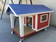 dog house on wheels with porch