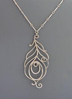 Sterling Silver Peacock Necklace, Rachel Wilder Handmade Jewelry. $92.00, via Etsy.