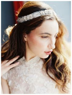 Beautiful headband with sparkling crystals from the Enchanted Atelier by Liv Hart S/S 2015 collection. Image by Laura Gordon Photography, hair by Daleesa Weary, makeup by Carl Ray. #wedding #bridal