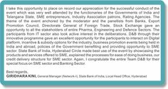 Happy Customer! State Bank of India congratulates team D&B India on SME Cluster Hyderabad event conducted on August 25th, 2015. .